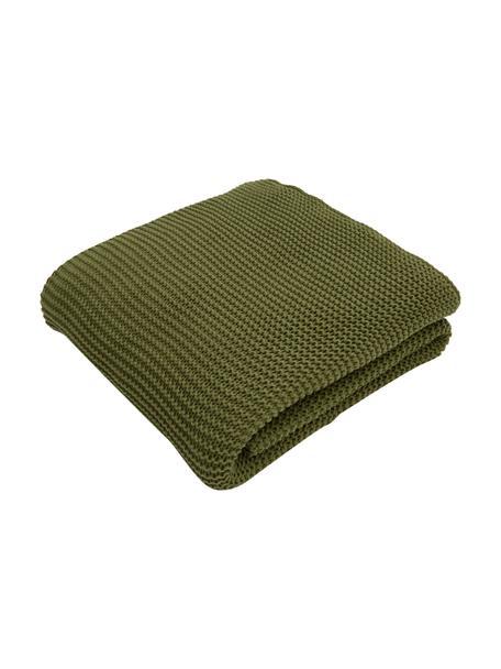 Strickdecke Adalyn aus Bio-Baumwolle in Grün, 100% Bio-Baumwolle, GOTS-zertifiziert, Grün, 150 x 200 cm