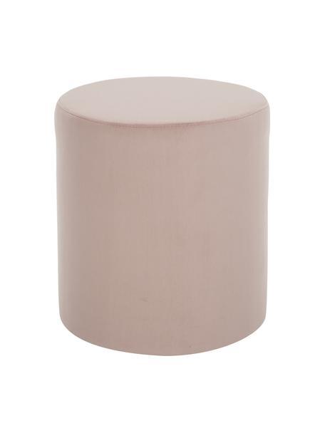 Fluwelen poef Daisy in roze, Bekleding: fluweel (polyester), Frame: multiplex, Fluweel roze, Ø 38 x H 45 cm