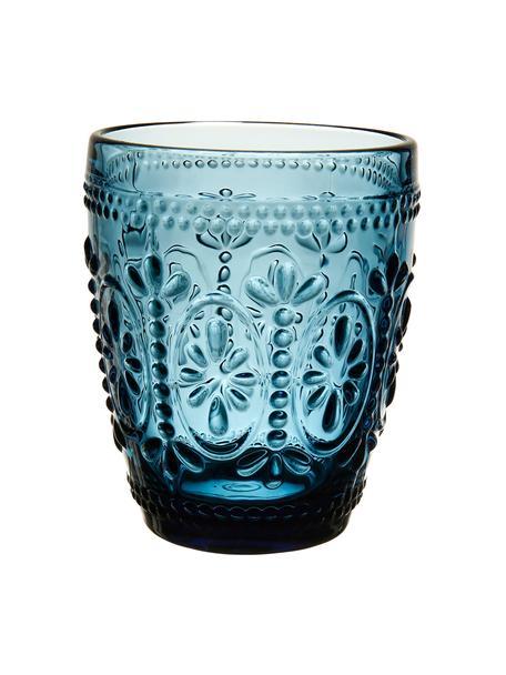 Wassergläser Chambord mit Blumen-Relief in Blau, 6 Stück, Glas, Blau, Ø 8 x H 10 cm