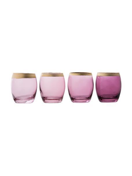 Waxinelichthoudersset Jolina, 4-delig, Gelakt glas, Windlichten: violettinten, transparent. Rand: goudkleurig, Ø 8 x H 9 cm
