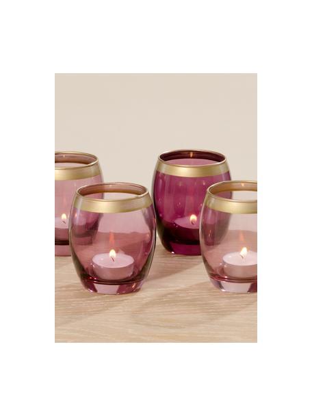 Set di 4 portalumini Jolina, Vetro verniciato, Portacandele: toni viola trasparente Bordo: dorato, Ø 8 x Alt. 9 cm