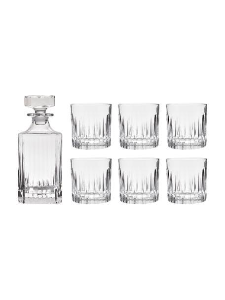 Komplet do whisky ze szkła kryształowego z reliefem Timeless, 7 elem., Szkło kryształowe Luxion, Transparentny, Komplet z różnymi rozmiarami