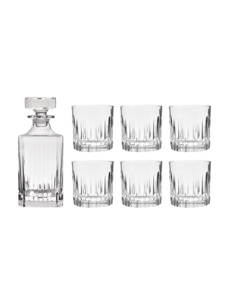 Kristalglazen whiskyset Timeless met groefreliëf, 7-delig, Luxion kristalglas, Transparant, Set met verschillende formaten