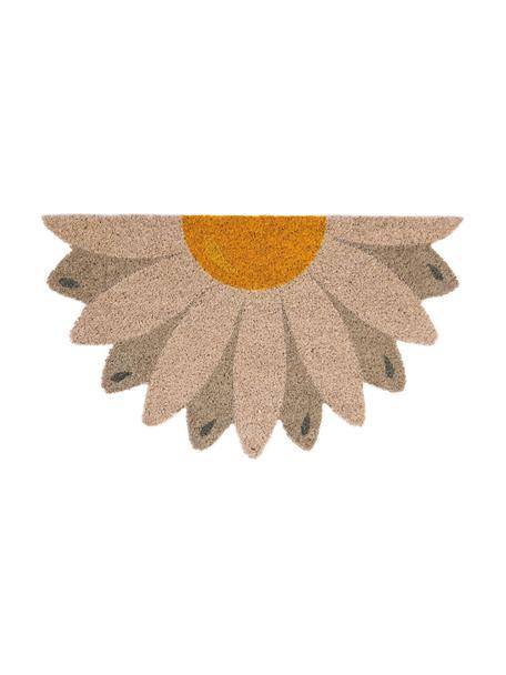 Felpudo Daisy, Parte superior: fibras de coco, Reverso: PVC, Beige, gris pardo, amarillo, An 40 x L 70 cm