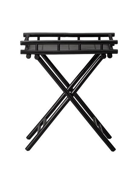 Ogrodowy stolik pomocniczy z drewna bambusowego Mandisa, Drewno bambusowe lakierowane na czarno, Czarny, S 60 x W 68 cm