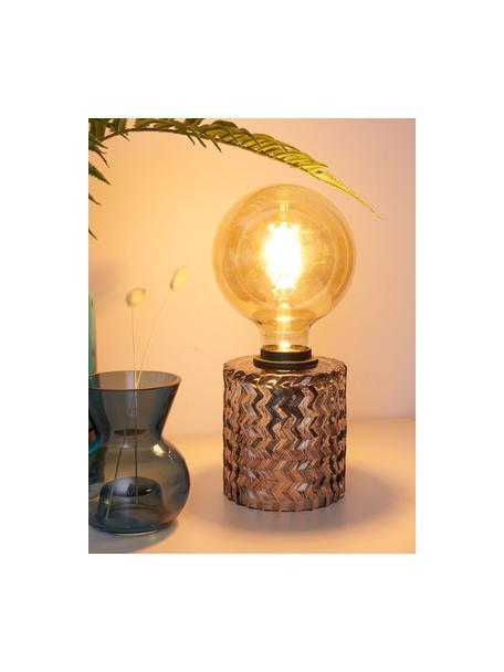 Kleine Tischlampe Crystal Smoke aus grauem Glas, Lampenfuß: Glas, Grau, Ø 11 x H 13 cm