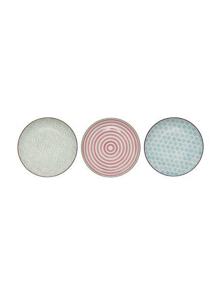 Handbemalte Frühstücksteller Patrizia mit verspieltem Muster, 3er-Set, Steingut, Weiß, Grün, Rot, Blau, Ø 20 cm