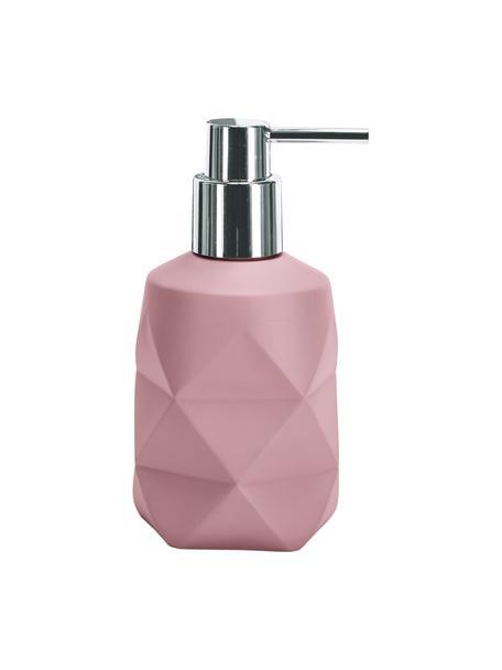Dosificador de jabón de poliresina Crackle, Recipiente: poliresina, Dosificador: metal, Rosa, Ø 8 x Al 17 cm
