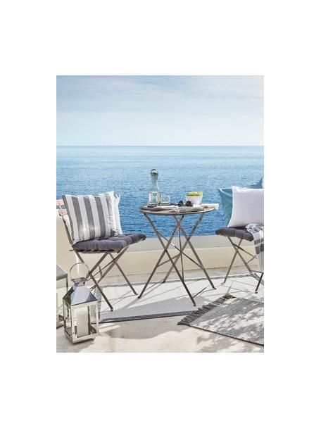Muebles de balcón de metal Chelsea, 3pzas., Metal con pintura en polvo, Gris pardo, Set de diferentes tamaños