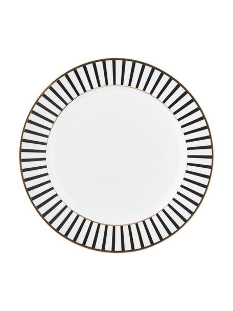Talerz śniadaniowy Pluto Loft, 4 szt., Porcelana, Czarny, biały, odcienie złotego, Ø 21 x W 2 cm