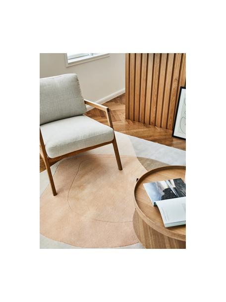 Fauteuil Becky van eikenhout, Bekleding: polyester, Frame: massief walnoothout, Geweven stof beige, eikenhoutkleurig, B 73 x D 90 cm