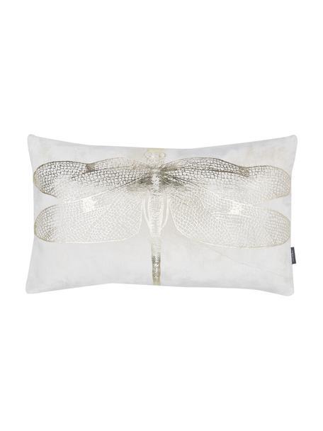 Cuscino con imbottitura Dragonfly, Rivestimento: 50% viscosa, 50% cotone, Bianco, dorato, Larg. 30 x Lung. 50 cm