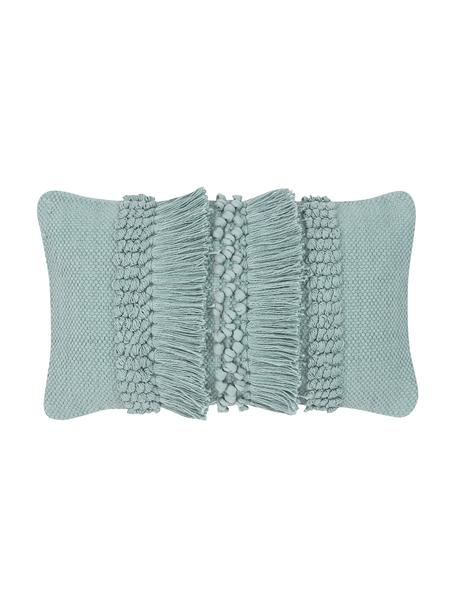 Poszewka na poduszkę z frędzlami Monika, 100% bawełna, Szałwiowy zielony, S 30 x D 50 cm