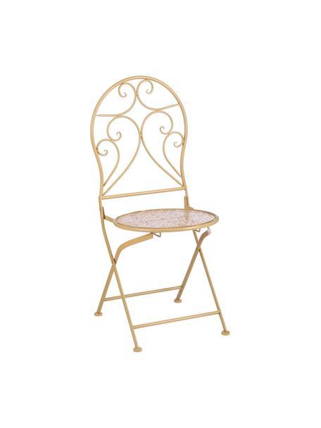 Składane krzesło balkonowe Ninet, 2 szt., Metal powlekany, Żółty, S 40 x W 92 cm