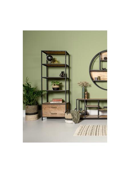 Libreria in metallo e legno con cassetti Henry, Ripiani: legno di teak riciclato, Struttura: metallo verniciato a polv, Marrone, nero, Larg. 64 x Alt. 183 cm