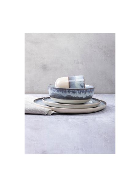 Frühstücksteller Inspiration mit Farbverlauf, 2 Stück, Steinzeug, Blau, Hellbeige, Ø 21 cm