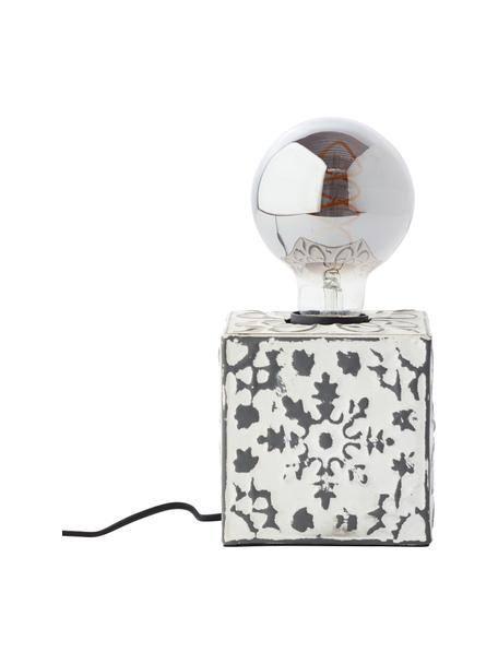 Lampada da tavolo piccola con finitura antica Vagos, Base della lampada: metallo rivestito, Crema, nero, Larg. 10 x Alt. 10 cm