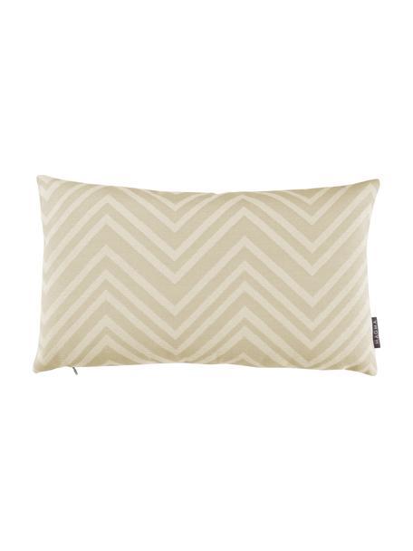 Outdoor kussenhoes Lobos met zigzag patroon, 100% polyacryl, Zandkleurig, beige, 30 x 50 cm