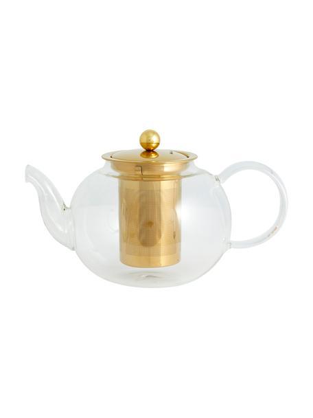 Teekanne Chili aus Glas mit goldfarbenem Teesieb, 1 L, Kanne: Glas, Transparent, Goldfarben, 1 L
