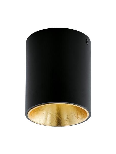 LED plafondspot Marty in zwart-goudkleur met antieke afwerking, Zwart, goudkleurig, Ø 10 x H 12 cm