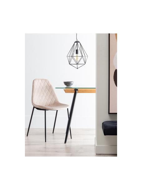 Krzesło tapicerowane Nadine, Tapicerka: 100% poliester, Nogi: metal powlekany, Beżowy, czarny, S 51 x G 46 cm
