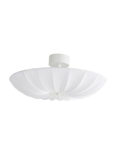 Grote Scandi plafondlamp Minnie in wit, Lampenkap: textiel, Baldakijn: gecoat metaal, Wit, Ø 60 x H 25 cm