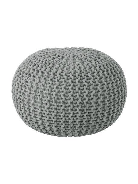 Pouf a maglia fatto a mano Dori, Rivestimento: 100% cotone, Grigio chiaro, Ø 55 x Alt. 35 cm
