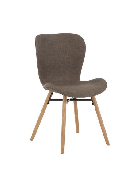 Krzesło tapicerowane Batilda, 2 szt., Tapicerka: poliester Dzięki tkaninie, Nogi: lite drewno dębowe, lakie, Khaki, drewno dębowe, S 56 x G 47 cm