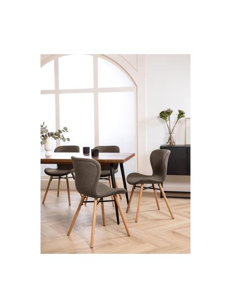 Gestoffeerde stoelen Batilda in kaki, 2 stuks, Bekleding: polyester, Poten: gelakt en geolied massief, Geweven stof kaki, eikenhout, B 56 x D 47 cm