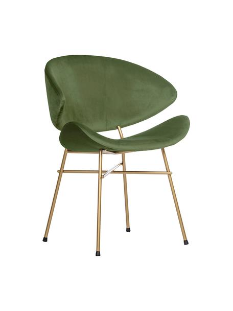 Krzesło tapicerowane z weluru Cheri, Tapicerka: 100% poliester (welur), Stelaż: stal malowana proszkowo, Zielony, odcienie mosiądzu, S 57 x G 55 cm