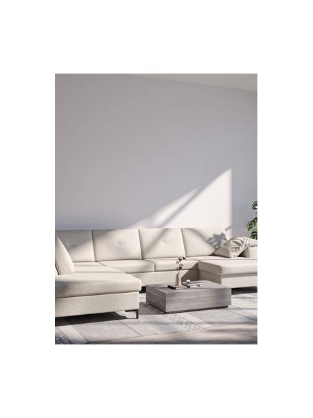 Sofá cama rinconero grande Moor, con espacio de almacenamiento, Tapizado: 100%poliéster de fácil l, Estructura: madera dura, madera bland, Patas: madera pintada Alta resis, Beige claro, An 335 x F 235 cm