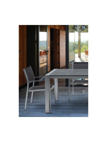 Mesa de comedor para exterior Inez, Estructura: aluminio satinado, Tablero: laminado de celulosa impr, Plata, gris, An 198 x F 90 cm