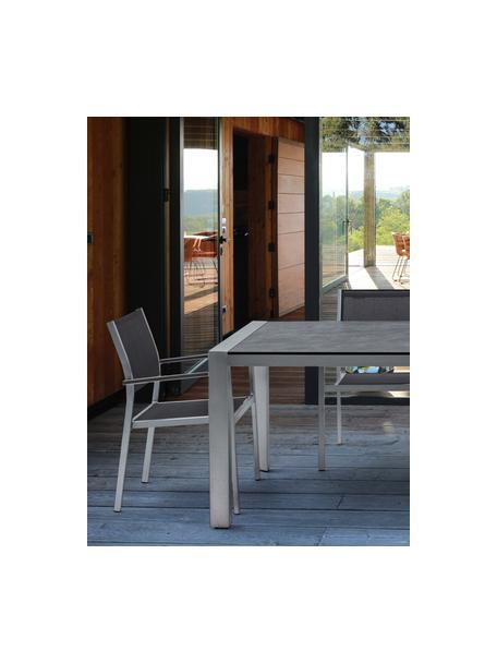 Tuin eettafel Inez in grijs, Frame: gesatineerd aluminium, Tafelblad: celluloselaminaat, met ku, Zilver, grijs, 198 x 90 cm