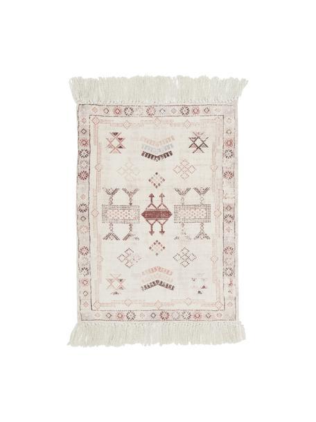 Katoenen vloerkleed Tanger met franjes, 100% katoen, Crèmekleurig, terracottakleurig, B 60 x L 90 cm (maat XXS)