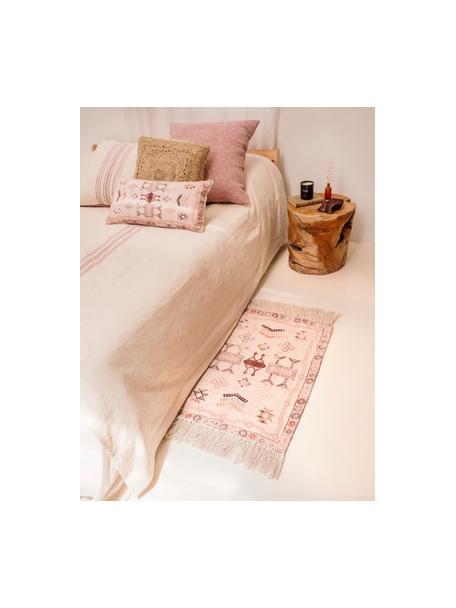 Dywan z bawełny z frędzlami Tanger, 100% bawełna, Odcienie kremowego,terakota, S 60 x D 90 cm (Rozmiar XXS)