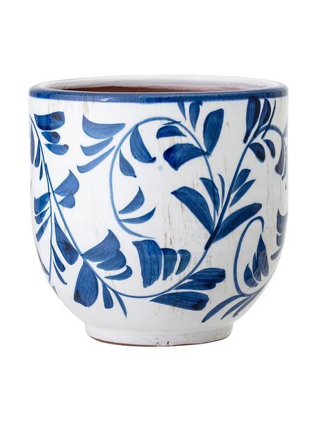 Portavaso piccolo in terracotta Jarl, Terracotta, Blu, bianco, Ø 14 x Alt. 14 cm