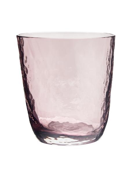 Vasos de vidrio soplado artesanalmente Hammered, 4uds., Vidrio soplado artesanalmente, Lila, transparente, Ø 9 x Al 10 cm