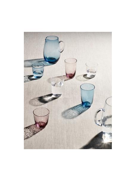 Bicchiere acqua in vetro soffiato irregolare Hammered 4 pz, Vetro soffiato, Lilla trasparente, Ø 9 x Alt. 10 cm