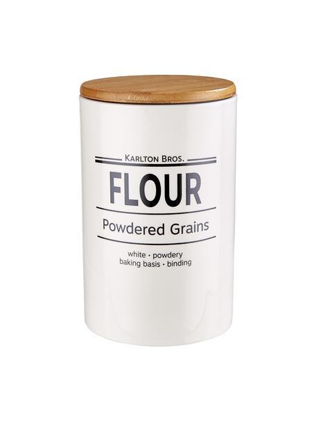 Bote Karlton Bros. Flour, Porcelana, Blanco, negro, marrón, Ø 11 x Al 18 cm