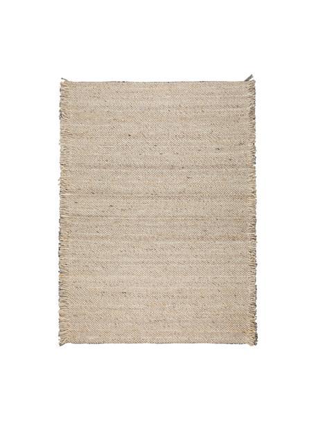 Alfombra de lana con flecos Frills, Parte superior: 100%lana, Reverso: 100%algodón Las alfombra, Beige, amarillo, An 170 x L 240 cm (Tamaño M)