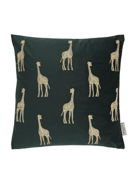 Cuscino con imbottitura in velluto ricamato Giraffe, 100% velluto (poliestere), Verde, dorato, Larg. 45 x Lung. 45 cm