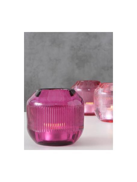 Set de portavelas Scara, 3uds., Vidrio, Tonos rosa, Ø 9 x Al 9 cm