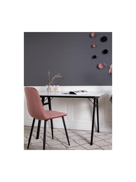 Krzesło tapicerowane z aksamitu Stockholm, Tapicerka: aksamit Dzięki tkaninie w, Nogi: metal lakierowany, Różowy, S 50 x G 47 cm