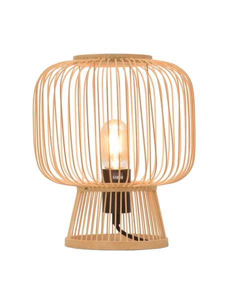 Lampa stołowa w stylu boho z drewna bambusowego Cango, Beżowy, czarny, Ø 30 x W 30 cm