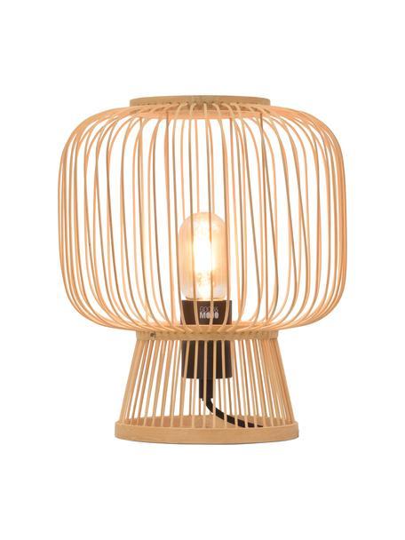 Lámpara de mesa pequeña de bambú Cango, Pantalla: bambú, Cable: cubierto en tela, Beige, negro, Ø 30 x Al 30 cm