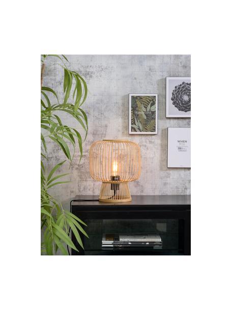 Lámpara de mesa de bambú Cango, estilo boho, Pantalla: bambú, Estructura: metal recubierto, Cable: cubierto en tela, Beige, negro, Ø 30 x Al 30 cm