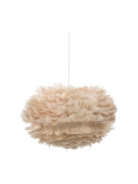 Lámpara de techo de plumas Eos, Pantalla: plumas de ganso, acero, Estructura: acero, Cable: tela, Anclaje: plástico, Beige, blanco, Ø 45 x Al 30 cm