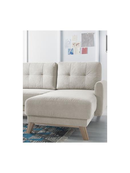 Sofá cama rinconero de terciopelo Balio (4plazas), con espacio de almacenamiento, Tapizado: 100%terciopelo de poliés, Patas: madera, Terciopelo crema, An 234 x F 164 cm