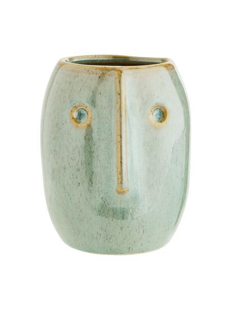 XS Übertopf Face aus Steingut, Steingut, Hellgrün, Beige, Ø 8 x H 10 cm
