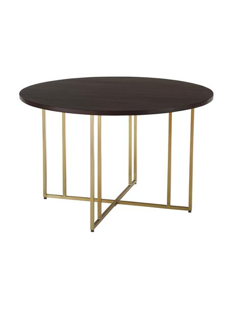 Mesa de comedor redonda de madera Luca, Tablero: madera de mango maciza ce, Estructura: metal con pintura en polv, Madera oscura, dorado, Ø 120 x Al 75 cm